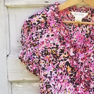 Allison Taylor Pink Purple print blouse